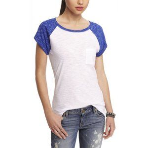Express NWT Space Dyed Blue Sleeve Baseball Tee